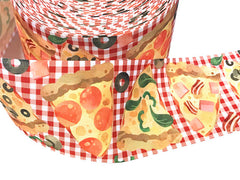 1 yard 3 inch PIZZA I love Pizza On Red Gingham Pepperoni Food Mushroom Printed Grosgrain Ribbon Cheer Hair Bow - 3""