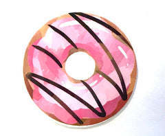 1 PIECE - Resin Chocolate Strawberry Donut Donuts Approx 2.4 inch Flatback Flat Back Resin Accent for Hair Bow