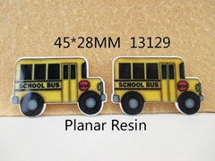 1 PIECE - Resin Bus Back to School I love School Approx 1.5 inch X 1 inch Flatback Flat Back Resin Accent for Hair Bow