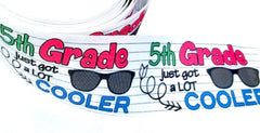 "1 Yard 3 inch 5th GRADE Here I Come Back to School Fifth Grader 3"" Cheer - Printed Grosgrain Ribbon for Hair Bow"