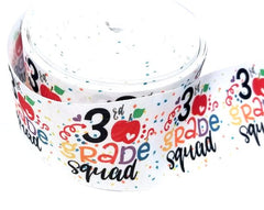 "1 Yard 3 inch 3rd GRADE SQUAD Back to School Third Grader 3 three GRADE 3"" Cheer - Printed Grosgrain Ribbon for Hair Bow"