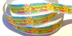 "1 Yard 7/8 inch KINDERGARTEN Here I Come Back to School 7/8"" Kinder - Printed Grosgrain Ribbon for Hair Bow"