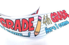 "1 Yard 3 inch 4th GRADE Here I Come Back to School Fourth Grader 3"" Cheer - Printed Grosgrain Ribbon for Hair Bow"