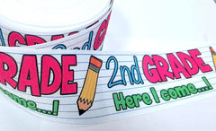 "1 Yard 3 inch 2nd GRADE Here I Come Back to School Second Grader 3"" Cheer - Printed Grosgrain Ribbon for Hair Bow"