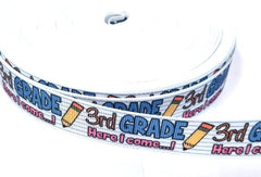 "1 Yard 7/8 inch 3rd GRADE Here I Come Back to School Third Grader 3 three 7/8"" - Printed Grosgrain Ribbon for Hair Bow"