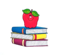 1 Piece -  Books APPLE RESIN back to school - Flat Resin  - Approx.  1 1/2 inch