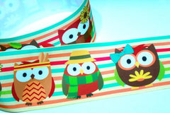 "1 Yard 3 inch Thanksgiving Owls Owl Cute Thankful Thanks 3"" Cheer - Printed Grosgrain Ribbon for Hair Bow"