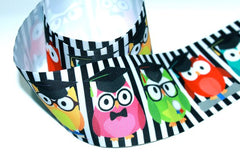 "1 Yard 3 inch Graduate Owls Owl Cute Graduation Back to School Kindergarten 3"" Cheer - Printed Grosgrain Ribbon for Hair Bow"