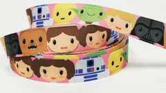 "1 Yard 7/8"" inch Super Hero Superhero Super Star Kids on Pink - Printed Grosgrain Ribbon for Hair Bow - Original Design"