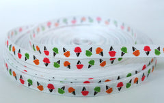 1 yard 3/8 inch  Ice Cream Cones Thin Hot Pink, Orange and Lime on White    -  Printed Grosgrain Ribbon