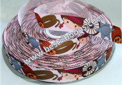 1 yard 1 inch Cutest Cowgirl in Town on Pale Pink  -  Printed Grosgrain Ribbon