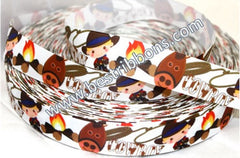 1 yard 1 inch Cutest Cowboy in Town on White  -  Printed Grosgrain Ribbon