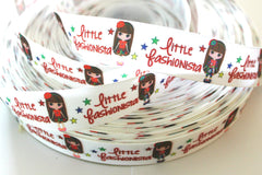 1 yard 1 inch Little FASHIONISTA  -  Printed Grosgrain Ribbon