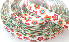 1 yard 7/8 inch  Little Flowers (Compliments Tiny  Butterflies)  -  Printed Grosgrain Ribbon