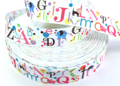 1 yard 1 inch Totally Cute ALPHABET on White    -  Printed Grosgrain Ribbon