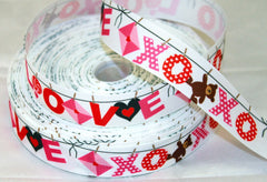 1 yard  1 inch  LOVE and XOXO --- Valentine Valentine's day  I Love You So Much Ribbon   -  Printed Grosgrain Ribbon