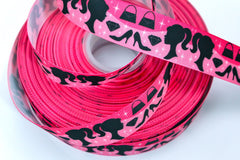 1 yard  1 inch  CUTE DOLL Fashion Diva (hot pink)     -  Printed Grosgrain Ribbon