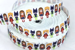1 yard  1 inch  Multi SuperGirl on White Super Hero  Superhero Super girl  -  Printed Grosgrain Ribbon