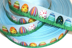 1 yard     7/8  inch     Easter Egg Party      -  Printed Grosgrain Ribbon
