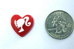 1 Piece -  Red Heart CUTE DOLL Silhoutte Resin - Approx. 3/4 inch