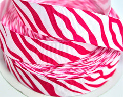 1 yard  7/8  inch   Hot Pink Zebra on White  -  Printed Grosgrain Ribbon