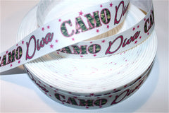 1 yard 7/8 inch CAMO DIVA on White -- Camouflage    Printed Grosgrain Ribbon