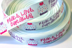 1 yard 7/8 inch  Peace, Love, Cupcakes on White Printed Grosgrain Ribbon