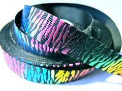 1 yard 7/8 inch  Colorful Metallic Zebra on BLACK - Animal Print   - Printed Grosgrain Ribbon