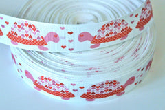 1 yard 1 inch  LOVE Turtles - Valentine's Day  Pink Red Hearts -  Printed Grosgrain Ribbon