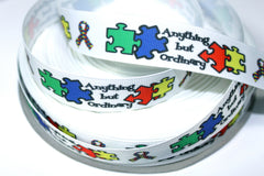 1 yard 7/8 inch Anything But Ordinary - Autism Awareness  OWL Owls     -  Printed Grosgrain Ribbon