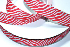 1 yard 1 inch Hot Pink Zebra on White (hpz101)  -  Printed Grosgrain Ribbon