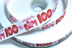 1 yard 1 inch 100% Daddy's Girl on White    -  Printed Grosgrain Ribbon