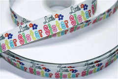 1 yard 1 inch Little Sister on White (two little flower design)     -  Printed Grosgrain Ribbon