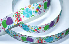 1 yard 1 inch Candy Party (new) on White     -  Printed Grosgrain Ribbon