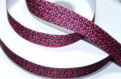 1 yard 1 inch Hot Pink Leopard with Black (leop202)   -  Printed Grosgrain Ribbon