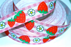 1 yard 1 inch  Strawberries on Cute Plaid Border Strawberry  Printed Grosgrain Ribbon
