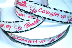 1 yard 7/8 inch Cowgirl Up - Zebra Border        Printed Grosgrain Ribbon