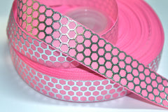 1 yard 1 inch  Silver Net on Light Pink    Printed Grosgrain Ribbon
