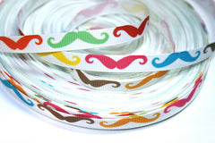 1 yard 3/8 inch  Multi-Color Mustaches (thin)   Printed Grosgrain Ribbon