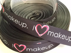 1 Yard 7/8 inch I Love Make up on Black - Makeup - Stylist - Beautician - Artist - Printed Grosgrain Ribbon