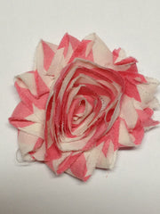 1 Piece  - Pink Stripes on white, Shabby Chic, Frayed Flower, Vintage Look for Headband, Hairclip, Hairbow