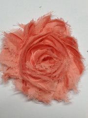 1 Piece  - PEACH - Shabby Chic, Frayed Flower, Vintage Look for Headband, Hairclip, Hairbow