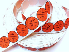 1 yard  7/8 inch  Basketball on White  -  Printed Grosgrain Ribbon