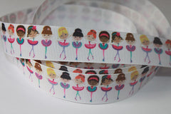1 Yard 1 inch BALLET Ballerina Girls on White - Dance - Printed Grosgrain Ribbon
