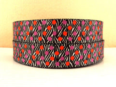 1 Yard 7/8 inch VALENTINE DOTS ON ZEBRA PATTERN  - VALENTINE - Printed Grosgrain Ribbon