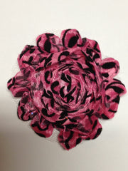1 Piece  - Black Velvet Damask on Hot Pink Shabby Chic, Frayed Flower, Vintage Look for Headband, Hairclip, Hairbow