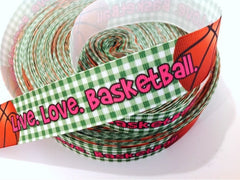 FULL SPOOL - 50 Yards - 1 inch - LIVE. LOVE. BASKETBALL ON GREEN GINGHAM -  Printed Grosgrain Ribbon