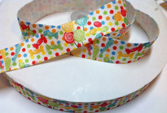 1 Yard -  1 inch - ELASTIC - CANDY ON COLOR POLKA DOTS - ELASTIC