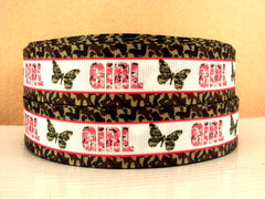 1 Yard 1 inch BUTTERFLY GIRL ON WHITE WITH CAMOUFLAGE - Printed Grosgrain Ribbon