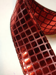 1 Yard 2 inch - Metallic Squares Ribbon - RED  - 2 INCH WIDTH